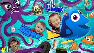 WE SPEAK WHALE!  Octopus Chase w/ SHAWN!!! Just Keep Swimming #1 FGTEEV plays FINDING DORY App Game