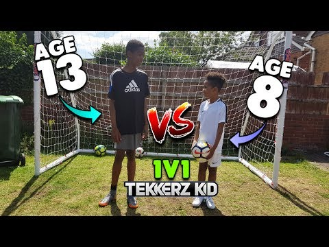 13 YEAR OLD vs 8 YEAR OLD! Who Will Win?? | 1v1 Football Challenge!!