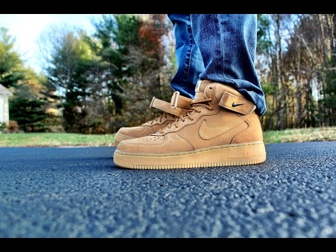Air Force 1 Mid flax On Feet video