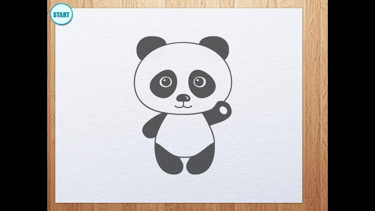 How to draw panda bear (panda is waving its hand) - YouTube