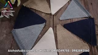 Dây cờ tam giác treo trang trí loại 4 màu đơn giản