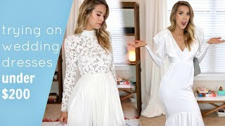 TRYING ON 5 AFFORDABLE WEDDING DRESSES | UNDER $200