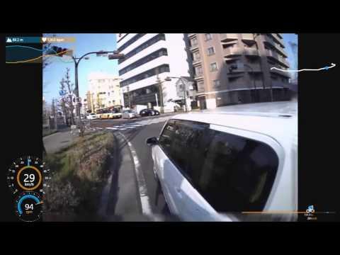 自転車載動画 追越し幅寄せ接触事故