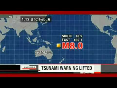 Magnitude 8 Solomon Island Quake-Tsunami Warning Lifted 2_6_13