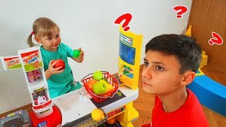 Alena and Pasha playing Fruit Store with Fruits and Toys