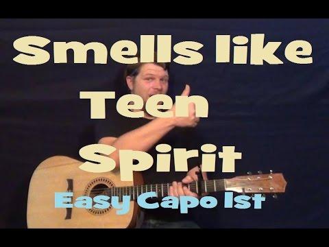 Smells Like Teen Spirit (Nirvana) Easy Guitar Lesson Strum Chord Licks Capo 1st Fret Tutorial