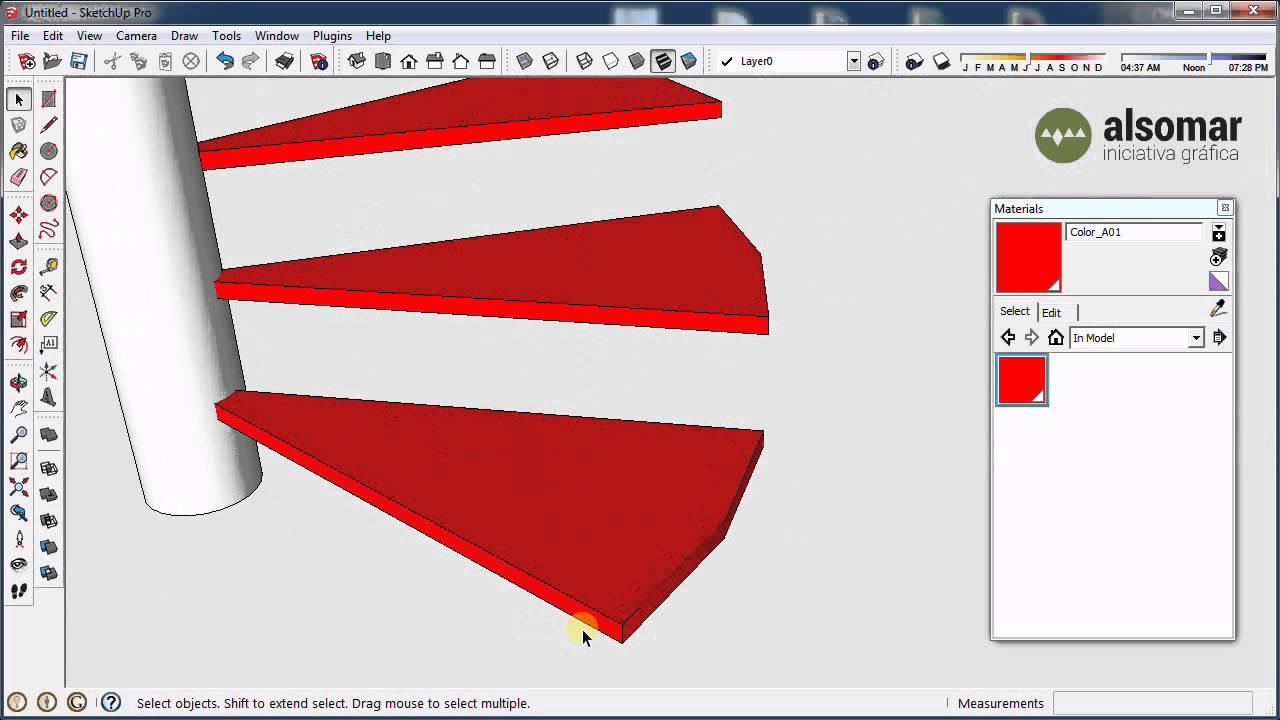 Sketchup b sico escalera de caracol youtube for Como hacer una escalera en caracol