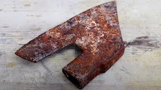 Extremly Rusty Bearded Axe Restoration - step by step DIY