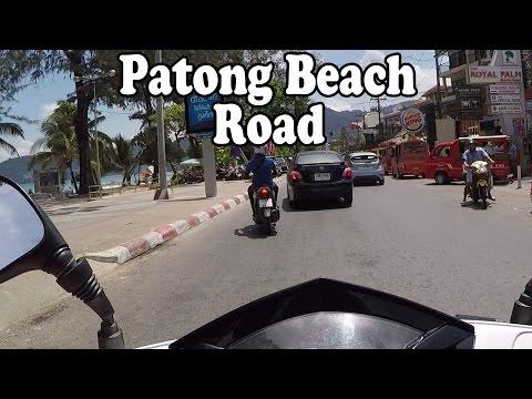 Patong Beach Road, Phuket Thailand on a motor scooter. May 2015. Phuket, Thailand