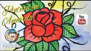 Como desenhar e pintar Rosa em Aquarela