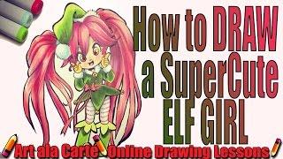 Art ala carte viyoutube how to draw a kawaii christmas elf ccuart Choice Image