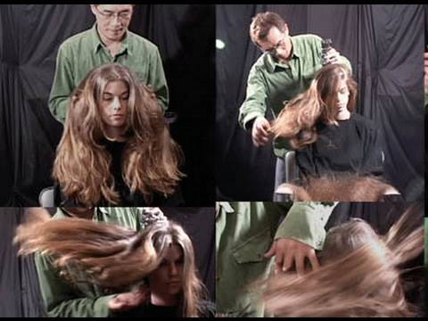 Hairstyling with multiple 6 - 8 scissors.