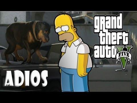 GTA 5: La Muerte de CHOP y Homero Simpson (muy triste)
