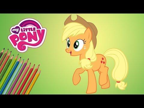 как нарисовать пони видео эпл джек