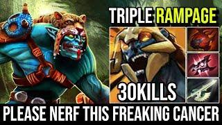 Valve Please Nerf This Cancer - Huskar Triple RAMPAGE Super Raid Boss 1 Vs World 30KIlls | Dota 2