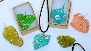 DIY wire wrapped sea glass pendants