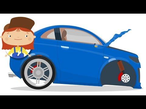 Dr McWheelie & a blue car. Cartoons for children.