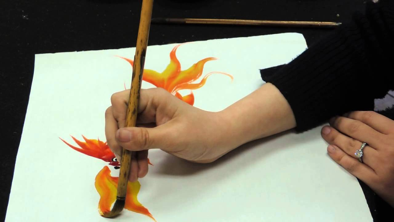 Chinese brush painting basics gold fish youtube for How to paint a fish