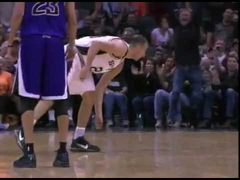 Manu Ginobili Catches (or destroy) a bat!! (in game broadcast) Video