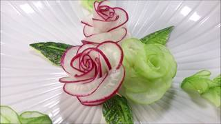 Red Radish Rose Carving Garnish - How To Make Radish Flower