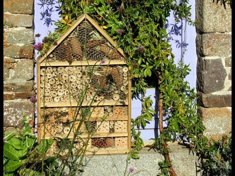 Home-made Deluxe Insect Hotel from repurposed wood. Hôtel à insectes - de luxe. Hotel de insectos.