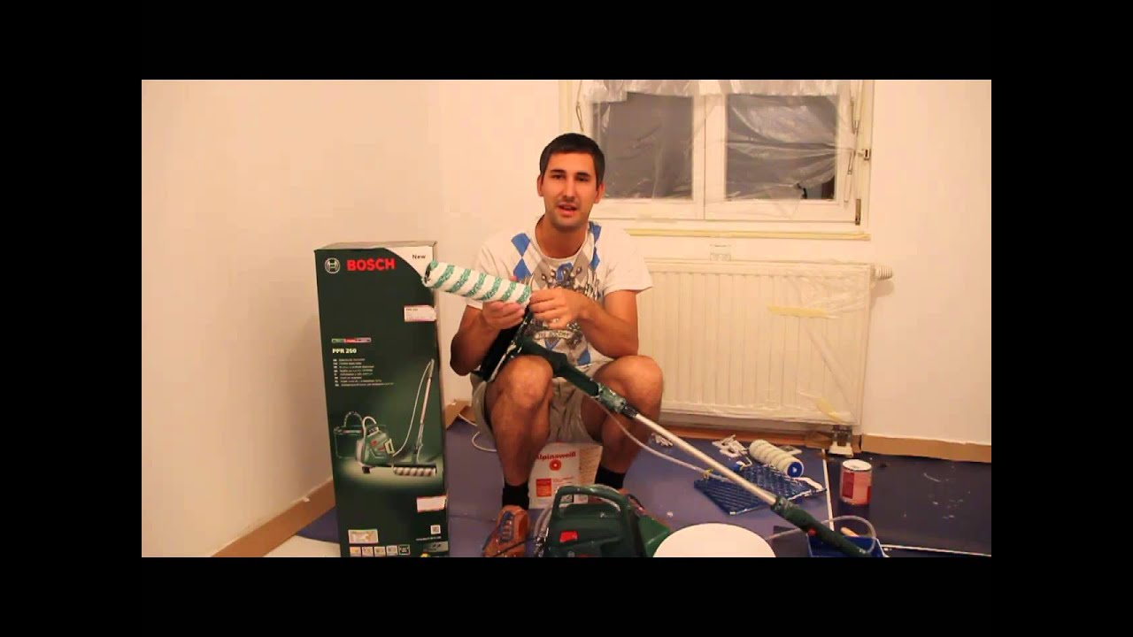 bosch elektrischer farbroller ppr 250 im test youtube. Black Bedroom Furniture Sets. Home Design Ideas