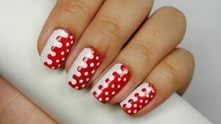 Unhas Decoradas - Branco e vermelho com bolinhas