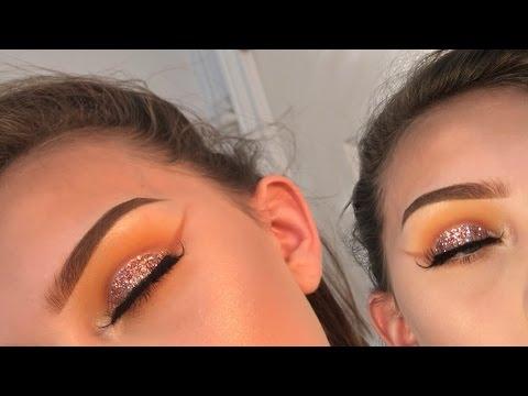 Pink glitter cut crease eyeshadow tutorial