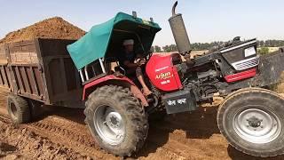 mahindra arjun 555 tractor 52 hp performance in loaded trolley