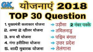 महत्वपूर्ण योजनाएं 2018 | TOP 30 | Government schemes 2018 | Gk SSC, UPPCS, RAILWAY, POLICE