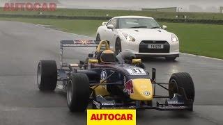 Nissan GT-R vs Formula 3 car video by autocar.co.uk
