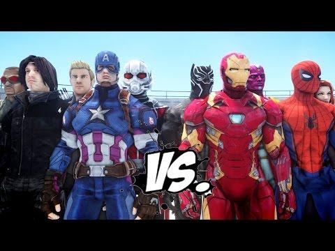 Team Captain America vs Team Iron Man - Civil War Battle