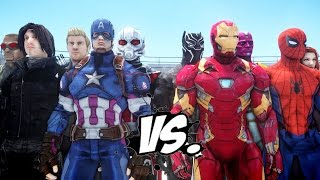 Team Captain America vs Team Iron Man - Civil War Battle