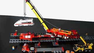 Lego 110-studs long Monster Crane (MOC) lifting train 7897