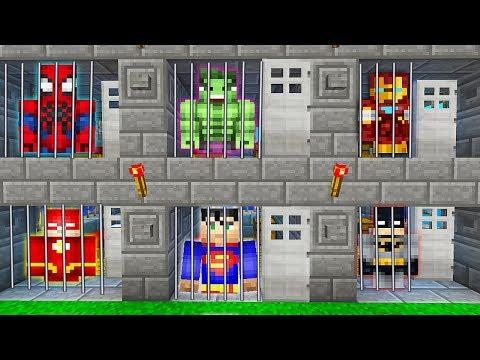 ВСЕ СУПЕРГЕРОИ ПОПАЛИ В ТЮРЬМУ В МАЙНКРАФТ ! Нуб против Супермен, Флеш, Халк в Minecraft Мультик