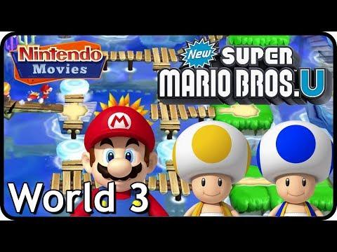 New Super Mario Bros. U: World 3 Sparkling Waters (All Star Coins 100% Multiplayer Walkthrough)