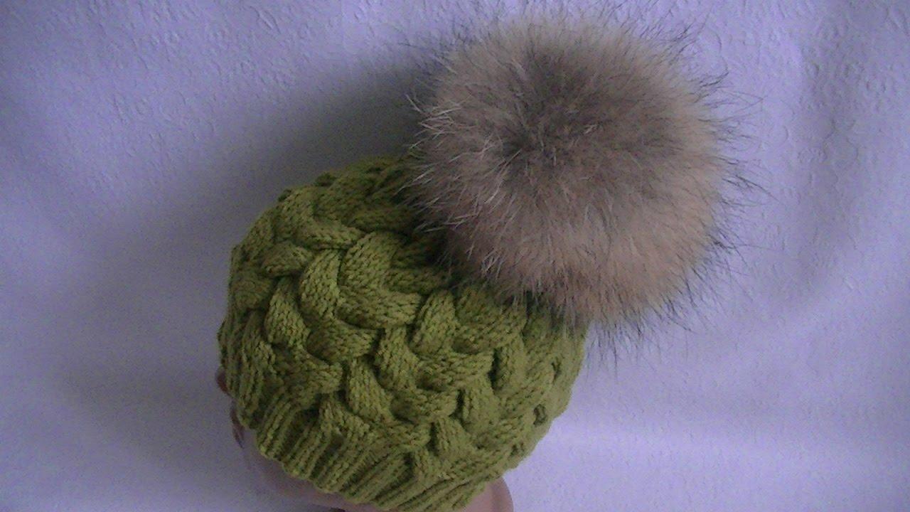 Вязание шапочки с косой 69