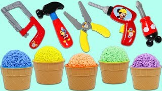 Play Foam Surprise Cups Opening with Disney Pretend Mickey Mouse Tools!