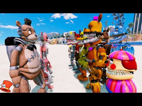 DRAWKILL ANIMATRONICS vs NIGHTMARE ANIMATRONICS! (GTA 5 Mods For Kids FNAF RedHatter)