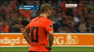 Netherlands - Hungary 5 - 3  Goal Wesley Sneijder 29 03 2011 Euro 2012 Qualifiers
