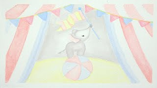 Bouncy Upbeat Children's Happy Piano Instrumental Music   Elephant Circus Watercolor