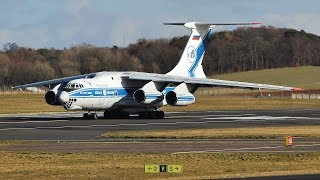 Volga-Dnepr IL76 Takeoff at Prestwick Airport Winter 2018