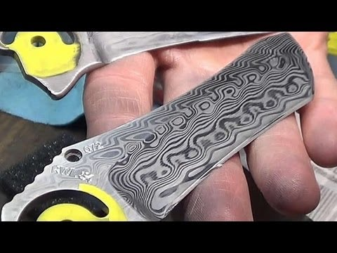 Etching Damascus knife blades