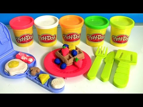 Play Doh Breakfast Time Playset Make Waffles Fruits Toppings Eggs - PlayDough Hora del desayuno