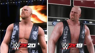 WWE 2K20 vs WWE 2K19: Stone Cold Steve Austin Entrance Comparison (Official Entrance)