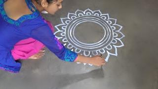 Download Saraswati puja special Alpana designs //  Easy rangoli Desiogns // kolam designs // muggulu designs 3Gp Mp4