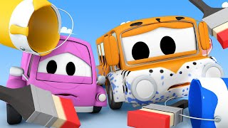 Tom the Tow Truck's Car Wash -  Suzy and Lily Get Painted - Car City ! Trucks Cartoon for kids