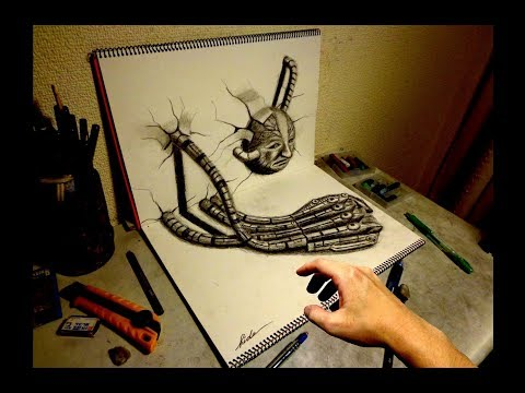 3D Drawing - How to draw 3D ART (Machine hand)3Dアートの制作風景