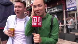 Russian Reporter On Live TV Gets Hilarious Mobbed By England Soccer Fans | HD
