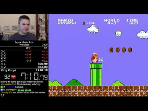 (19:04.38) Super Mario Bros. Warpless speedrun *World Record*